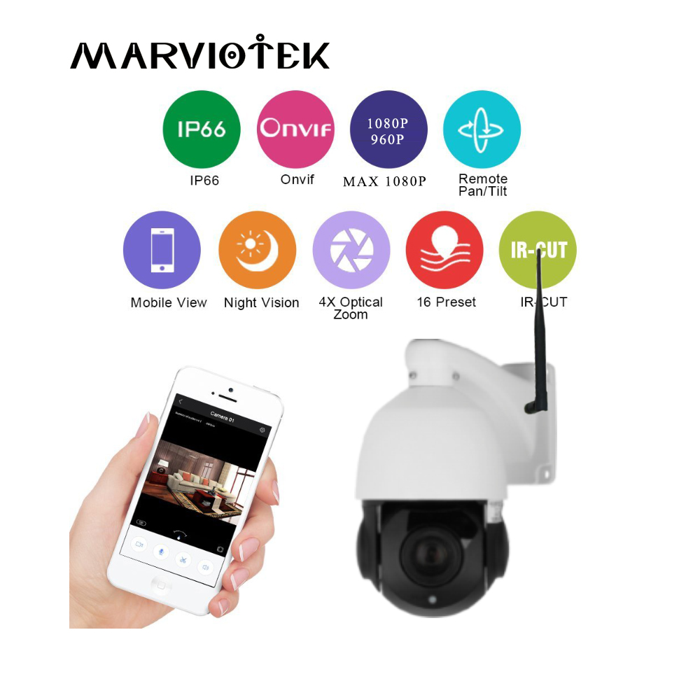 960P IP Camera font b Wireless b font PTZ Speed Dome Camera WIFI 4X Zoom Outdoor