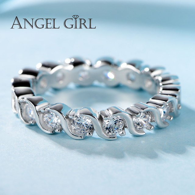angel girl love ring silver 925 ladies round white couple rings romantic christmas gift for wife