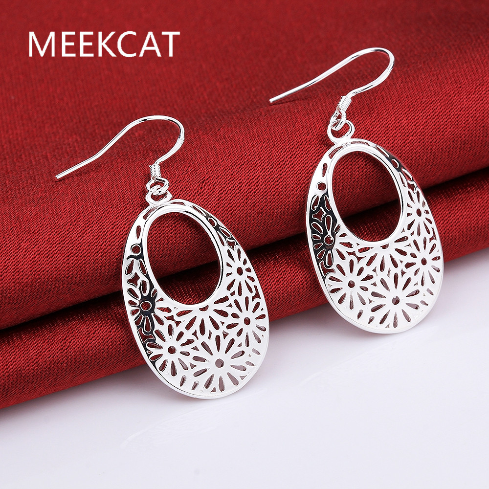Vintage beauty hollow leaf Drop earrings Boucle doreille 925 stamped silver plated Fashion 2017 New Jewelry accessary