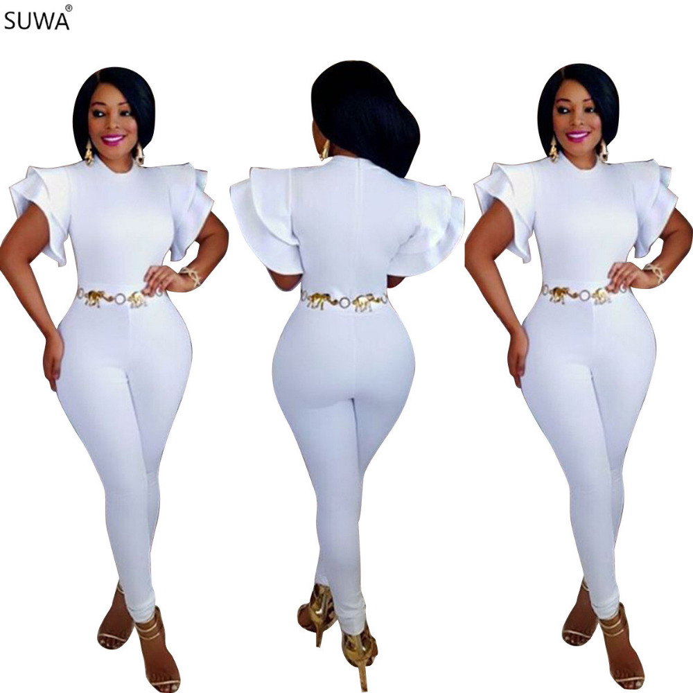 SUWA High Quality Woman Jumpsuits Sexy White Bodysuit Ruffles Elegant Celeb Party Long Jumpsuit Playsuit J7438K ...