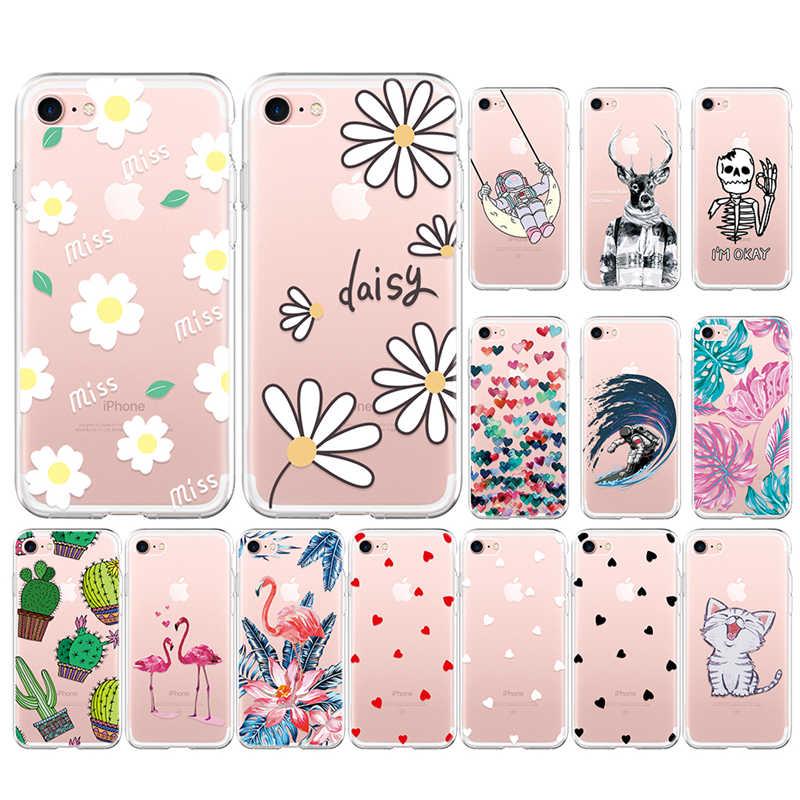 VEVICE Schöne Klare TPU Fällen Für IPhone XR XS MAX X 8 7 6 6S Plus 5 5S SE Weiche Abdeckung Blume Tiere Herz Muster Coque Fundas
