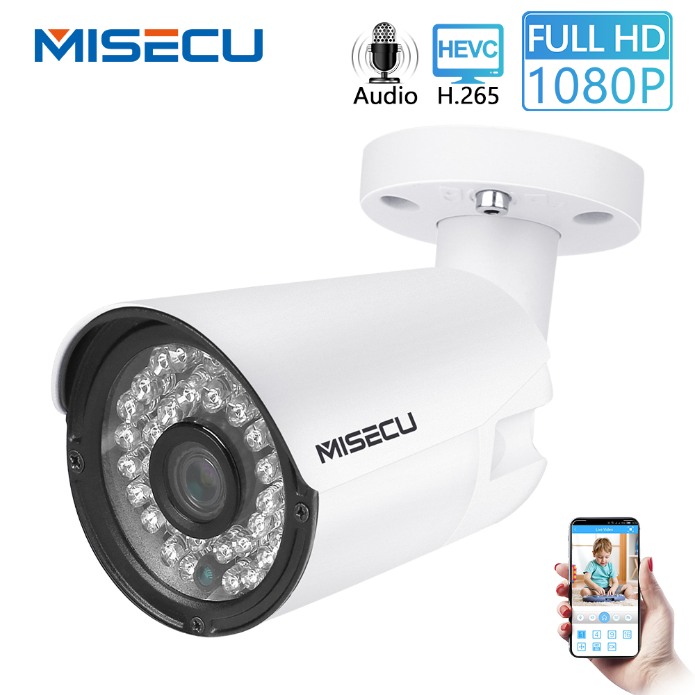 MISECU H.265 2MP IP Audio Camera Outdoor Record Sound Waterproof Metal Full HD Motion detect RTSP FTP P2P Onvif Night visionMISECU H.265 2MP IP Audio Camera Outdoor Record Sound Waterproof Metal Full HD Motion detect RTSP FTP P2P Onvif Night vision
