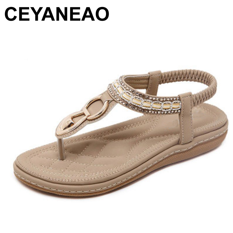CEYANEAO Summer female sandals casual comfortable diamond flat flip flops woman sandals large size soft bottom beach shoes 40 41 liberta дезодорант стик дезодорант стик