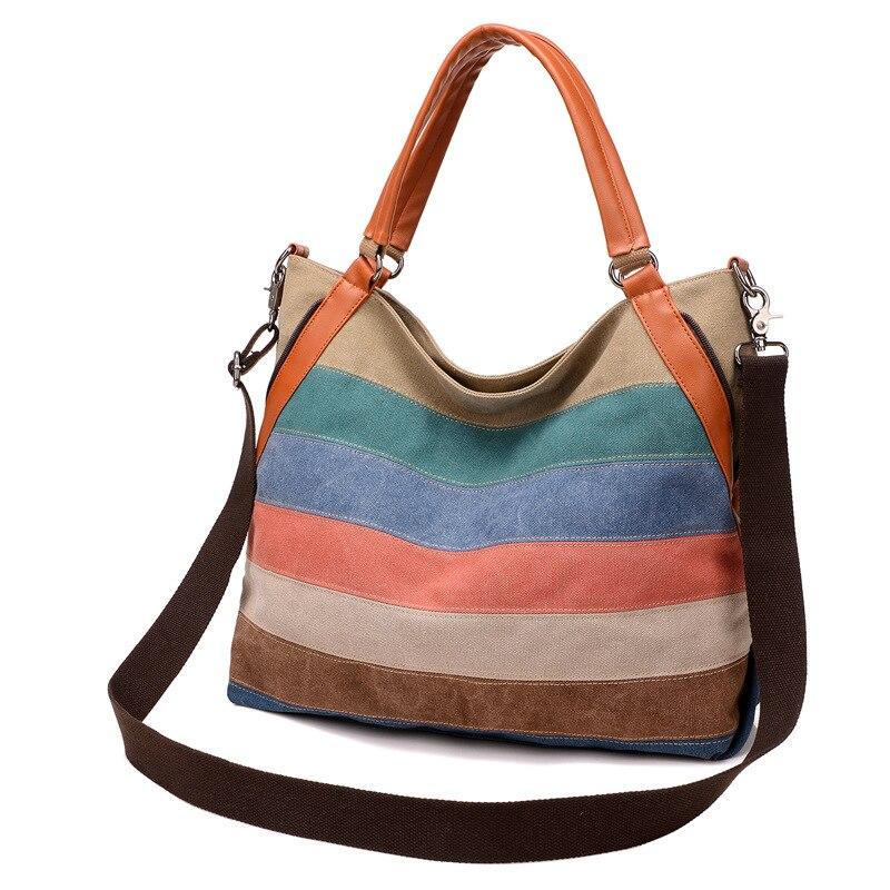 Version coréenne de sac en toile académique dames sac à main contraste rayures mode rétro sac grand sac à bandoulière unique Messenger