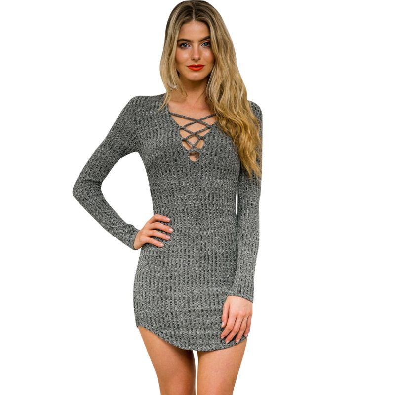 Women Lace Up Bodycon Package Hip Knitted Dress V Neck Long Sleeve Sweater A-Line XL Dress CV3
