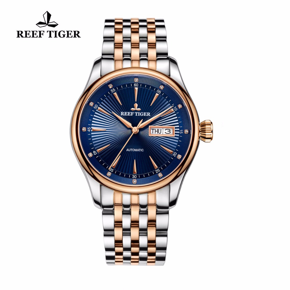 New Reef Tiger/RT Men's Dress Watches with Date Day Two Tone Case Blue Dial Automatic Watches Waterproof RGA8232 2017 new reef tiger rt brand luxury watches with date blue dial men s automatic wristwatches two tone rose gold watches rga823g