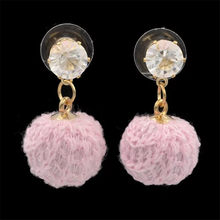 new trendy round Pom Pom Ball cotton Tassel Earrings For Women pink crystal earrings gift best match lady fashion jewelry(China)