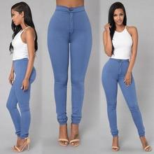 Solid Wash Skinny Jeans Woman High Waist winter Denim Pants Plus Size autumn Trousers Bodycon warm Pencil Pants ladies 0%(China)