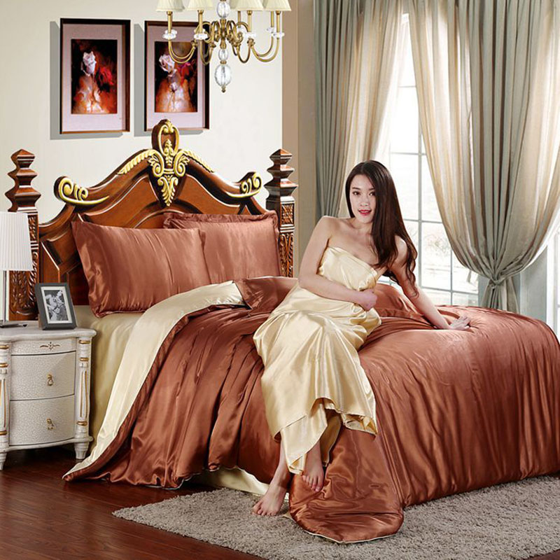100 pure ice silk bedding set ice satin elegant bed set bedclothes duvet cover flat