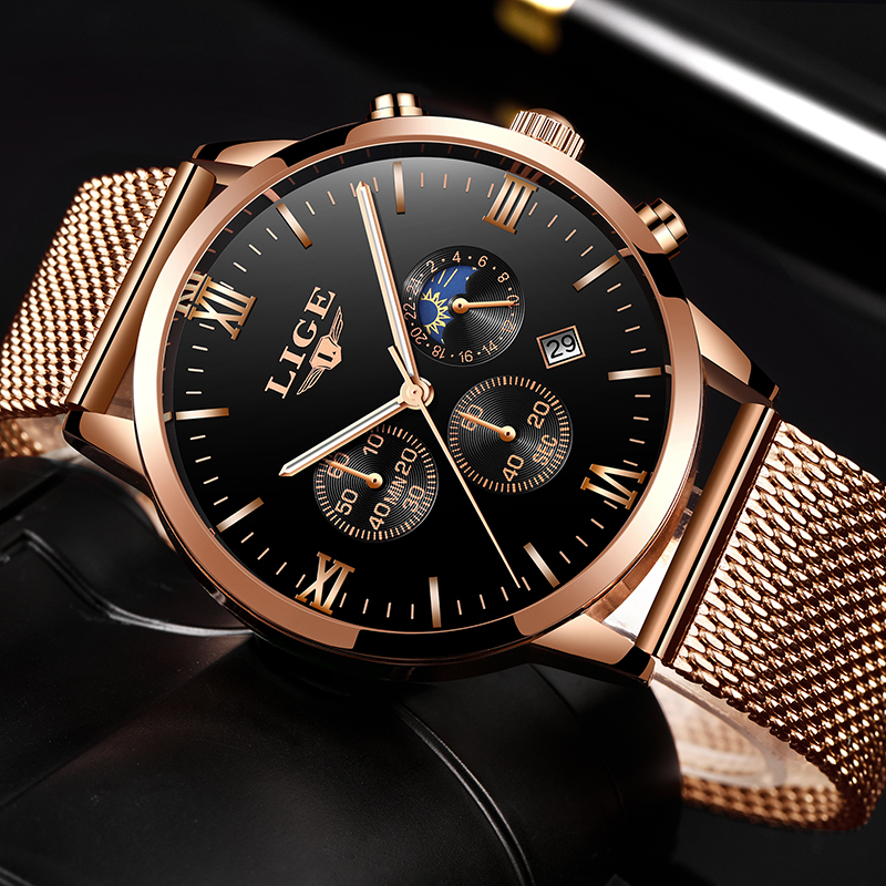 LIGE Top Luxury Brand Ultra-thin Business Quartz Watch Men's Casual Mesh Steel Gold Waterproof Sport Watch Man Relogio Masculino fashion painted flip pu leather for huawei mediapad t3 10 ags l09 ags l03 9 6 inch tablet case cover stylus film