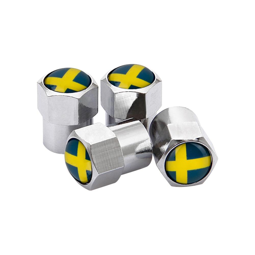 4PCS Wheel Tire Valve Stem Caps For Sweden Flag Logo Volvo V40 V50 V60 V70 S40 S60 S60L S70 S80 S90 XC40 XC60 XC70 XC80 XC90