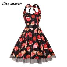 d28ce26ee51 Halloween Party Vintage Pin Up Midi Dress Women Skull Cake Print Gauze  Splicing High Waist Halter Strap Dresses Belted Plus Size