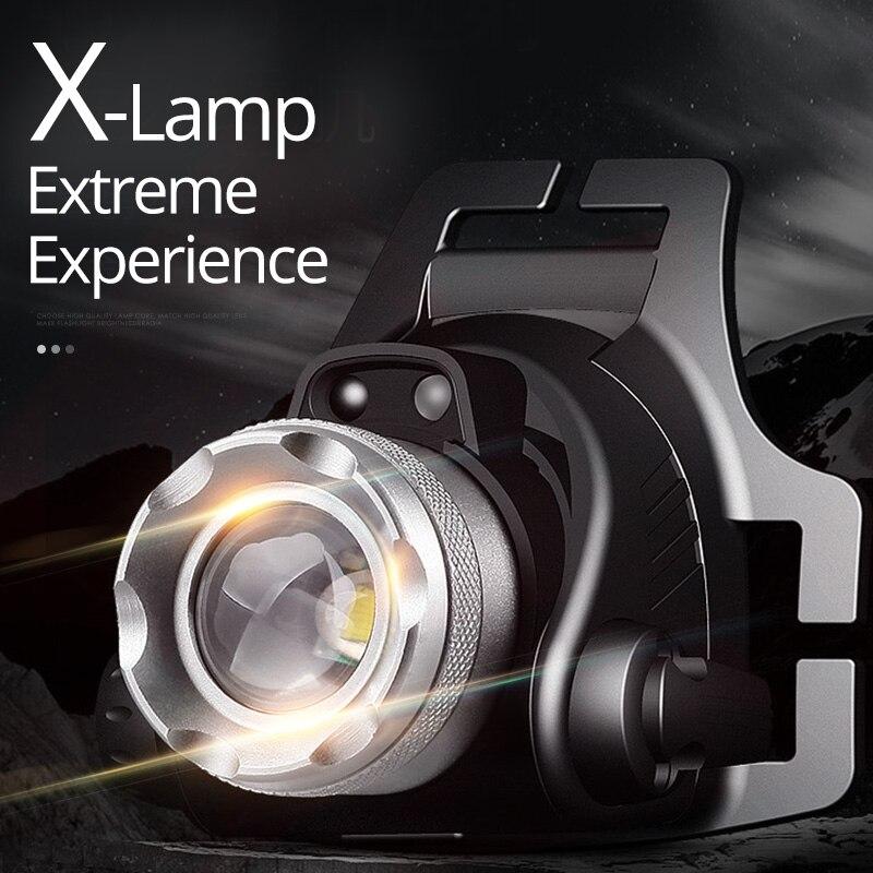 SHENYU Sensor IR LED faro Zoomable recargable 180 grados de rotación luz cabeza antorcha Cree XML-T6 L2 linterna Camping senderismo