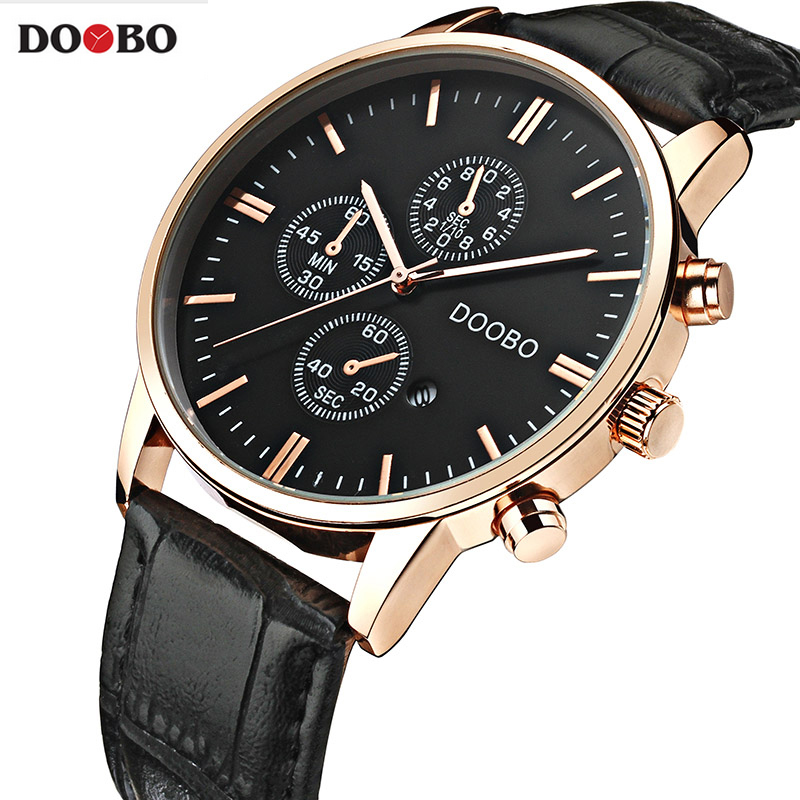 New DOOBO Watches Luxury Brand Men Watch Leather Fashion Quartz-Watch Casual Male Sports Wristwatch Date Clock Montre Homme new fashion wooden watches men luxury brand modern wood wristwatch quartz day date square clock male business dress watch