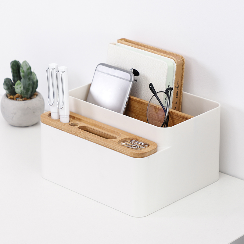 Creative multifunctional office desk storage box fashion pen holder phone holder remote control storage box