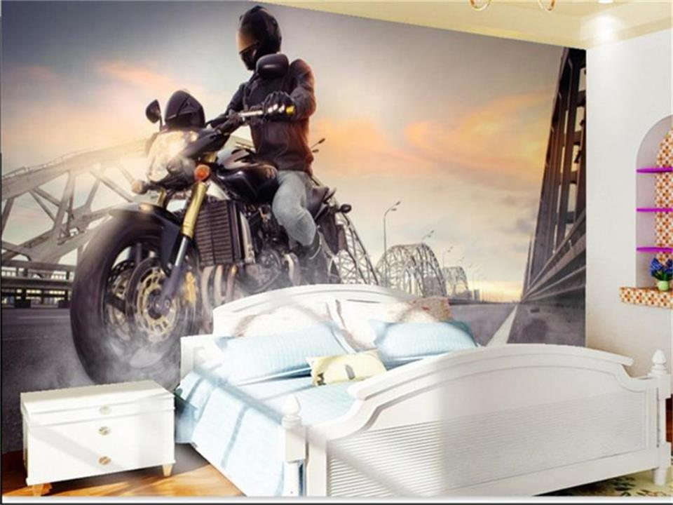 3d photo wallpaper custom room mural large motorcycle painting non-woven sticker TV sofa background wall wallpaper for walls 3d 3d wallpaper custom mural non woven wall sticker black and white wood road snow tv setting wall painting photo wallpaper for 3d