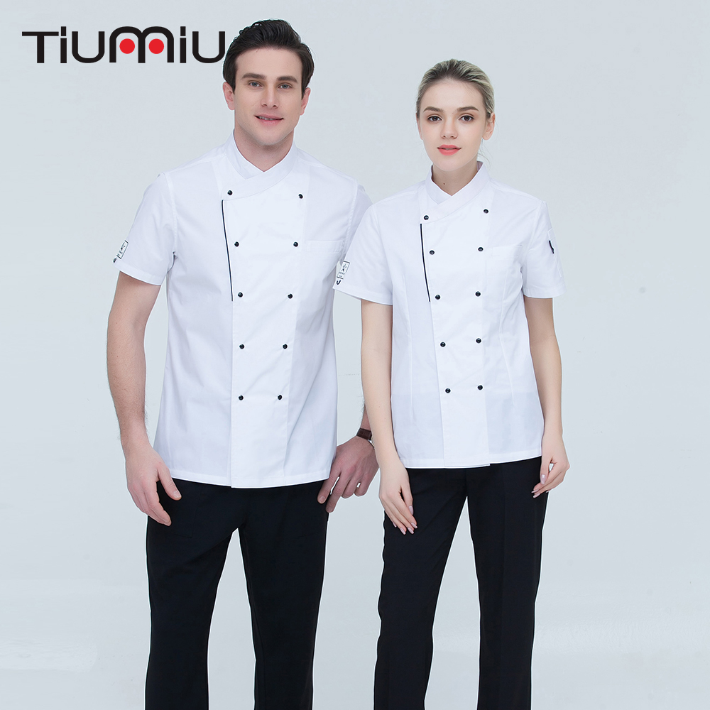 High Quality Wholesale Women Men Short-sleeve Double Breasted Kitchen Hotel Chef Jacket Catering Restaurant Bakery Sushi Uniform
