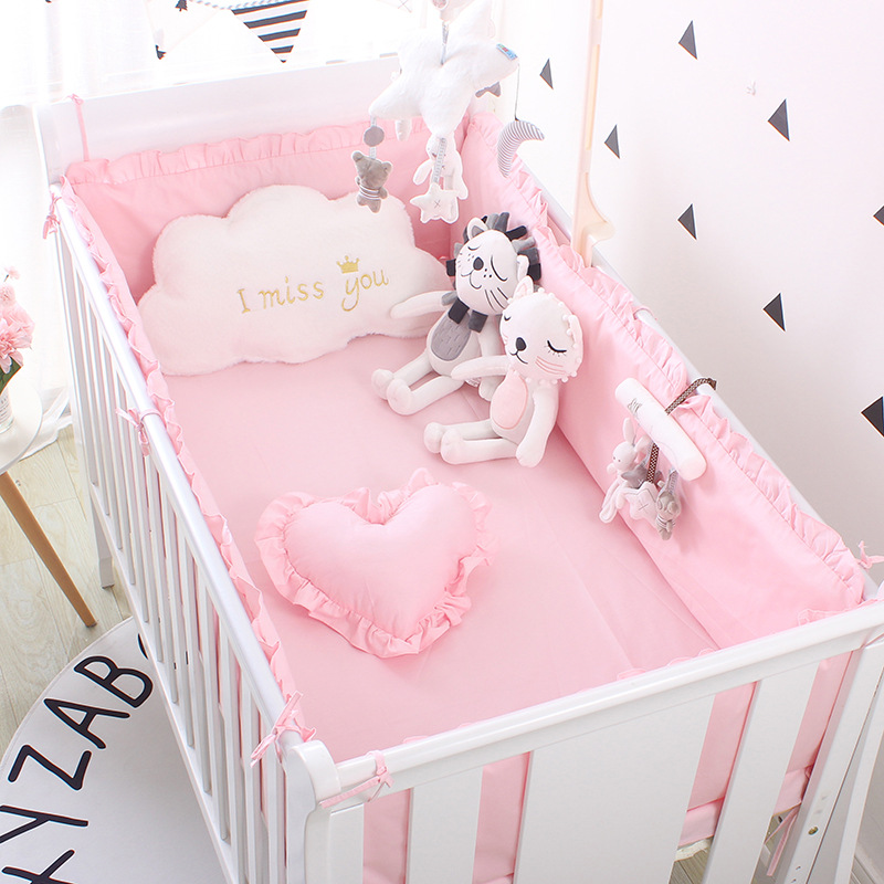 Princess Pink 100% Cotton Baby Bedding Set Newborn Baby Crib Bedding Set for Girls Boys Washable Cot Bed Linen 4 Bumpers+1 Sheet