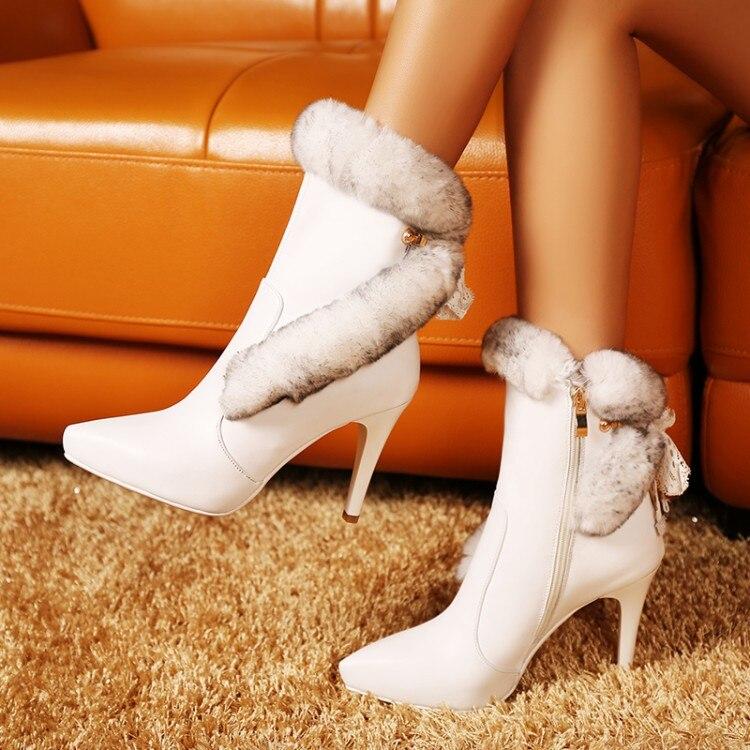 Tacón Zapatos Para Las Cálido Alto Tacones Natural Cuero La Mujeres Negro Invierno De Marca Botas blanco 2019 Mujer Nieve Lujo Tobillo Plataforma {zorssar} WqZP6wH