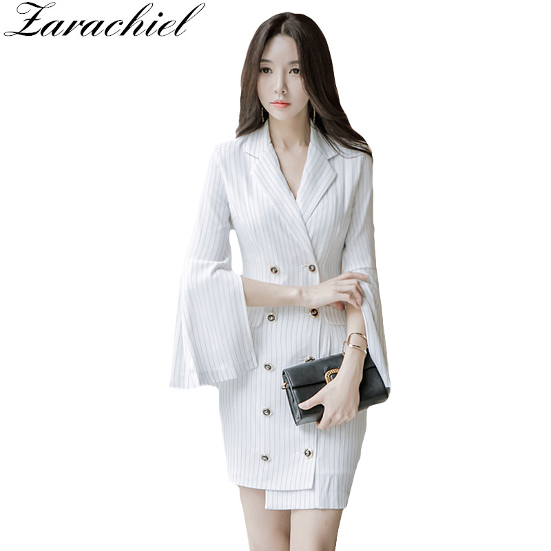 Zarachiel White Striped Women Blazer Dress Spring Notched Double Breasted Slit Flare Sleeve Lady Bodycon Pencil Asymmetric Dress Limpid In Sight Dresses