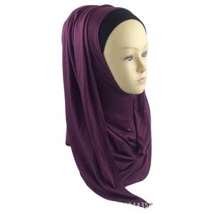 Image 2 - ใหม่ห่วง HIJAB ผู้หญิงธรรมดา Jersey Hijab ทันทีผ้าฝ้ายมุสลิมหัวผ้าพันคอสีทึบ Headwear ครึ่งอ่านสวมใส่ 180x70 ซม.