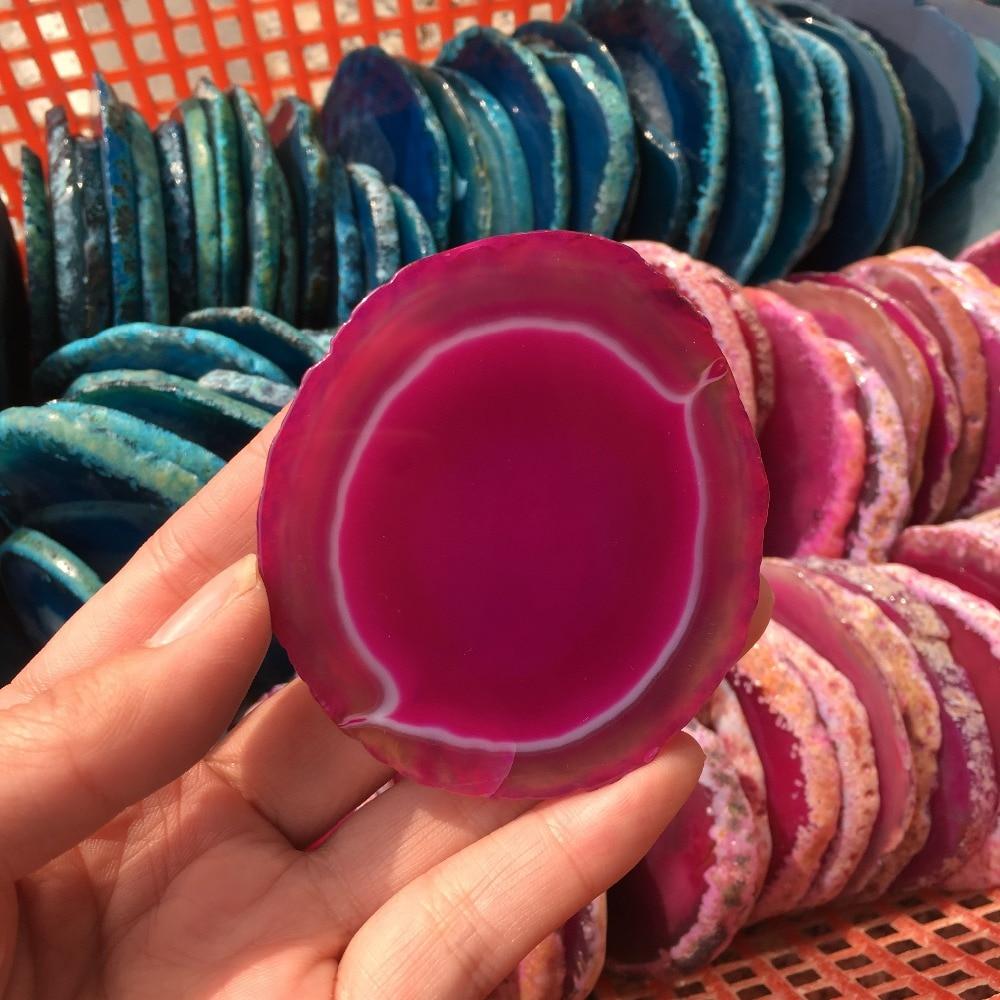Burgundy 110-140mm Large Natural Agate Geode Slice Polished Crystals Coaster Cup Mat Home Decor
