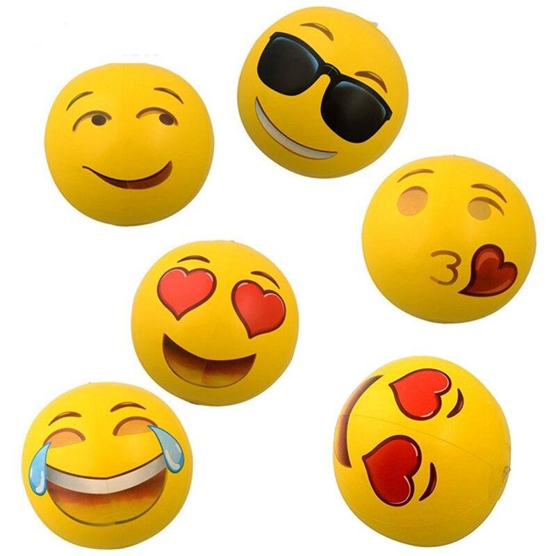 6pcs Inflatable Funny Cute Emoji Soft Beach Balls Kids Adult Water Swimming Pool Sand Toys