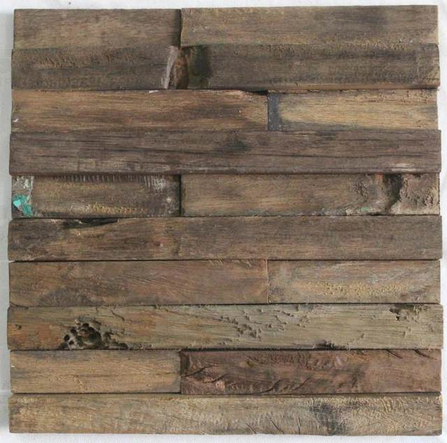 Natural Old Ship Wood Tiles Rustic Dining Room Wall Mosaic Tile For Kitchen Bar Backsplash Country Style
