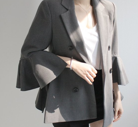 Travail Manteau 2018 Flare Automne Mince Blazers Costume Black Femmes Mode Veste Élégant Manches Printemps gray Blaser Revers Gris Breasted Double pUzGMSVq