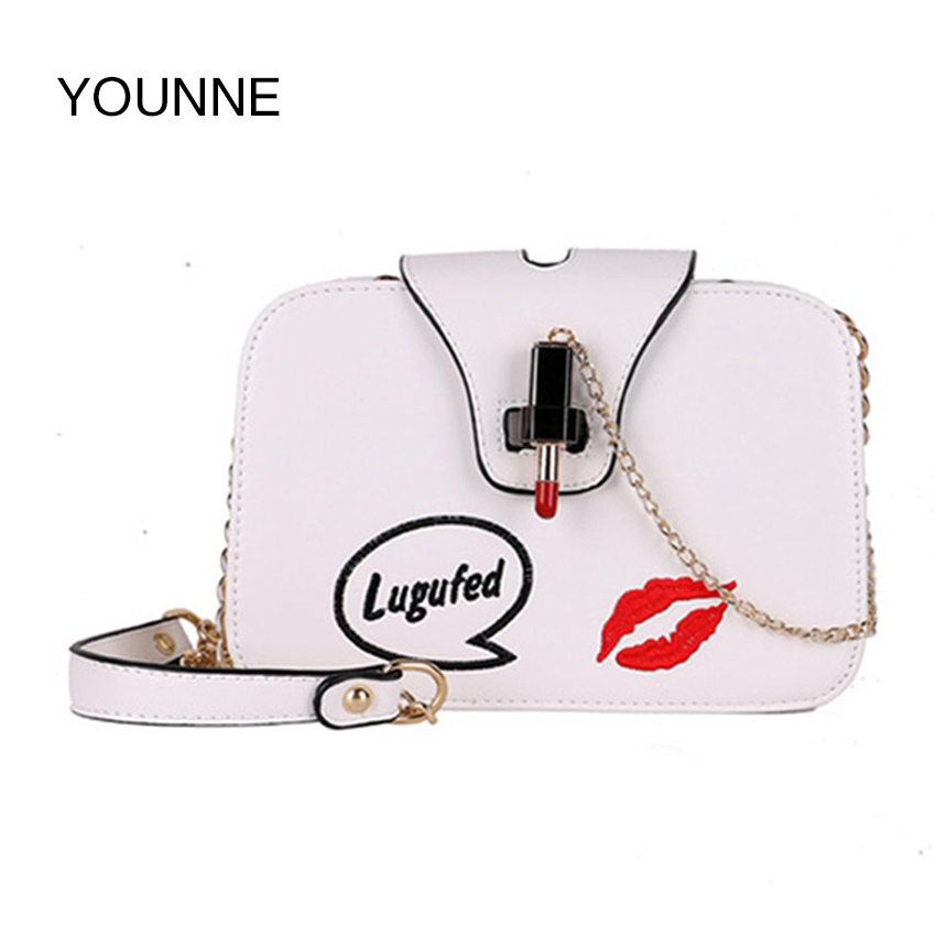 YOUNNE Brand New Korean Embroidery Lock Small Lipstick Simple Shoulder Bag Chain Strap Messenger Bag Fashion Women Bag new bag strap chain wallet handle purse acrylic resin strap chain strap replaced bag strap bag spare parts