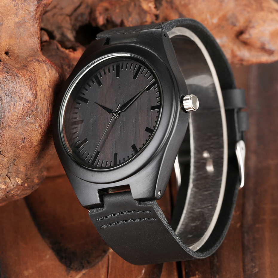 MY MAN Engraved Word Full Black Men's Ebony Wood Watch Clock Male Unique Quartz Leather Valentines Gifts for Husband Boyfriend  2020 2019 2 (6)