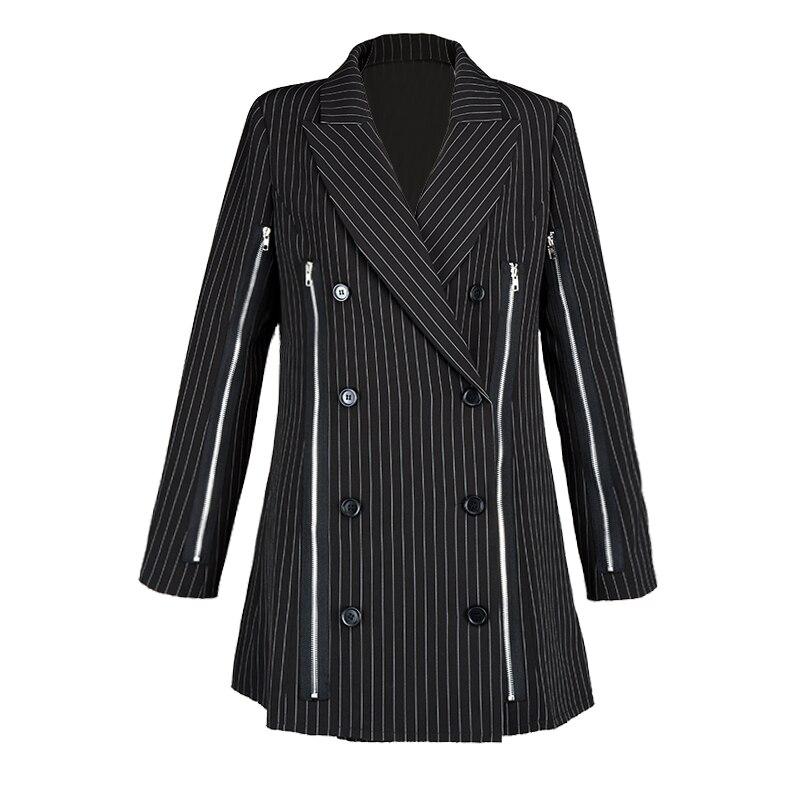 Femmes De Taille Nouveau Rayé Blazer Entaillé Pleine Noir Directe Double Feminino Vente Breasted 2019 Longue Polyester Bande qEPvwq7