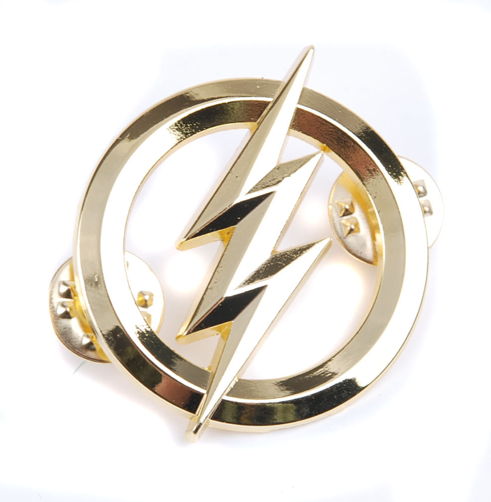 US THE FLASH METAL BADGES GOLD PERSONALITY BADGE