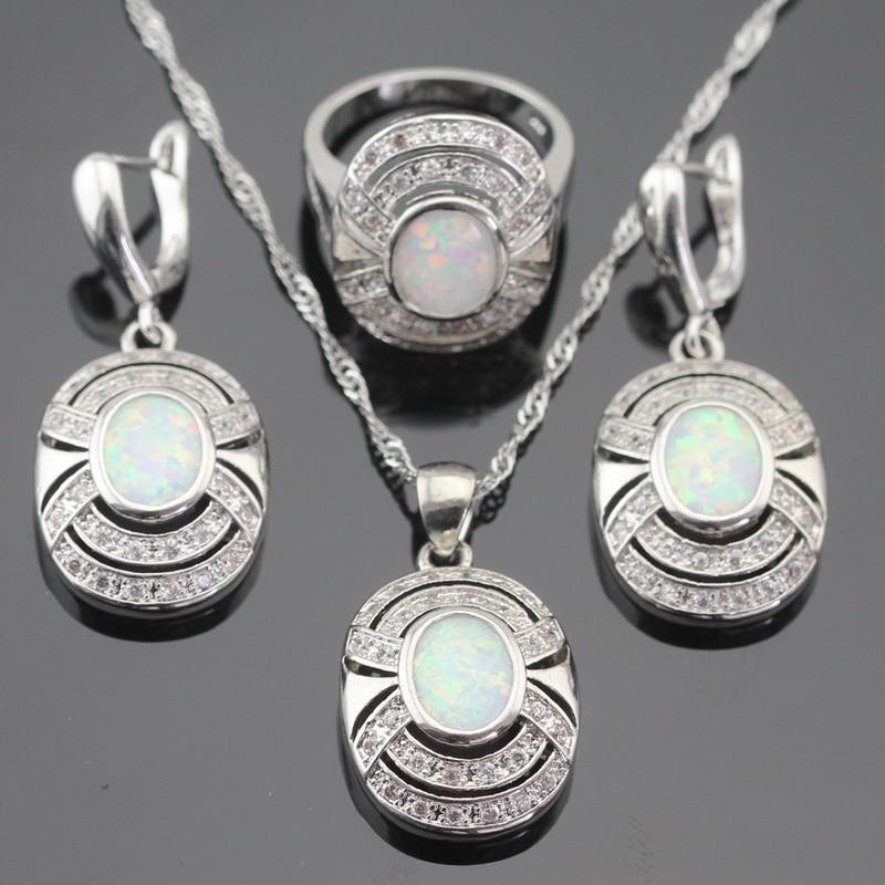 Australija Vatro bijela opal srebrna boja nakit setovi za žene - Modni nakit - Foto 2