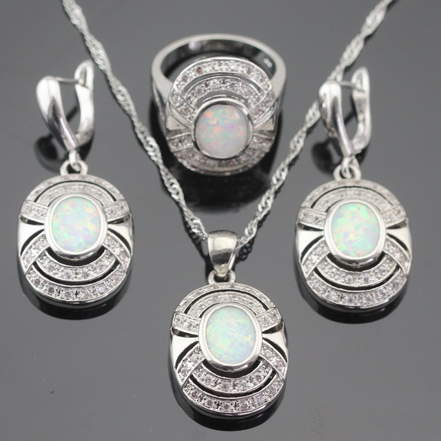 Australia Fire White Opal Silver Color Jewelry Sets For Women Christmas Gift Drop Earrings Necklace Pendant Ring Free Box