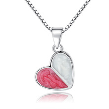 100% 925 sterling silver romantic love heart ladies`pendant necklaces jewelry female short box chain Christmas gift wholesale
