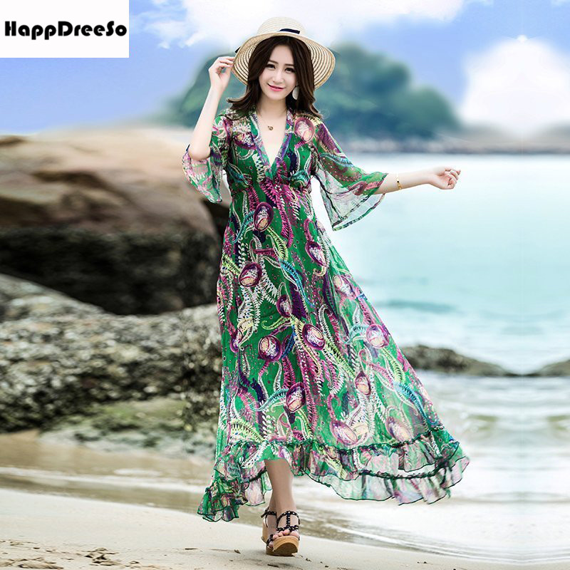 2018 Women Summer Chiffon Dress V Neck Half Flare Sleeve Floral Long Maxi Beach Dress Robe longue femme ete vestido longo round neck ladies sweater dresses cotton knitted 2018 summer womens mini dresses long sleeve party dress robe longue femme q1