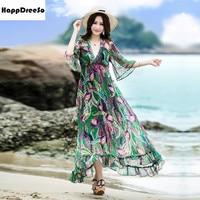 Women Summer Chiffon Dress V Neck Half Flare Sleeve Floral Long Maxi Beach Dress Robe longue femme ete vestido longo