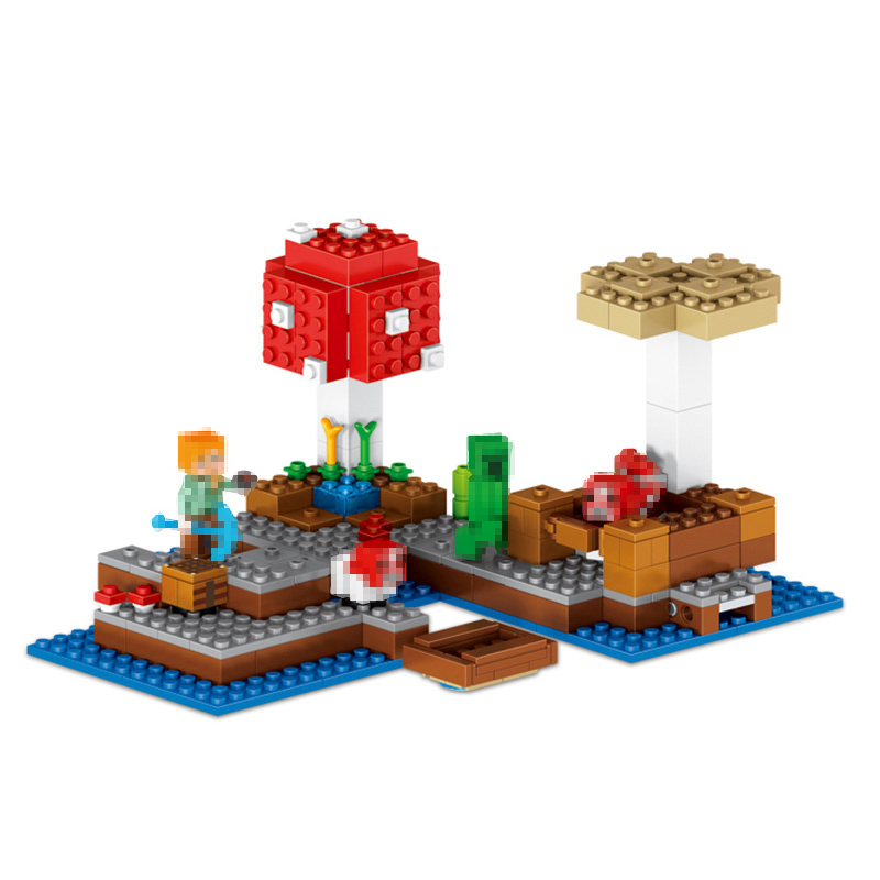 My World Series Technik Building Blocks Compatible with LegoINGlys Minecrafter Mushroom Island Model Enlighten Toy 256 Pcs lele my world power morse train building blocks kits classic educational children toys compatible legoinglys minecrafter 541 pcs