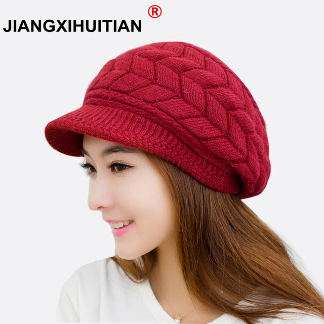 2018 winter Women s Winter Luxury Dot Hat Women s Hats Elasticity High  Elasticity Warm Caps Cap Hat Girl Cap Solid Color Female 177ef571c
