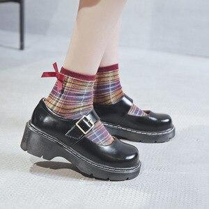 Image 3 - 2019 ใหม่มาถึงสไตล์ญี่ปุ่น Vintage Mary Janes รองเท้าสตรีตื้นปากรองเท้าลำลองนักเรียนรองเท้าหนังหนาด้านล่าง