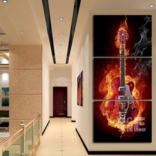 diy 3d mosaic diamond embroidery flame music diamond painting cross stitch triptych full square drill home decoration E442