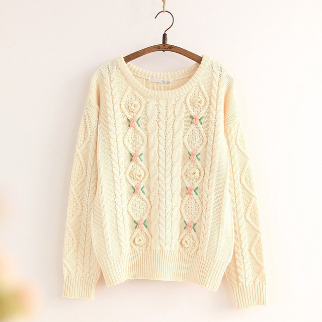 Beige,Pink,Blue 2016 New Chunky Cable Women's Sweaters Cherry Decoration Top Waves Knitting Lovely Cute Lolita Pullover Sweater