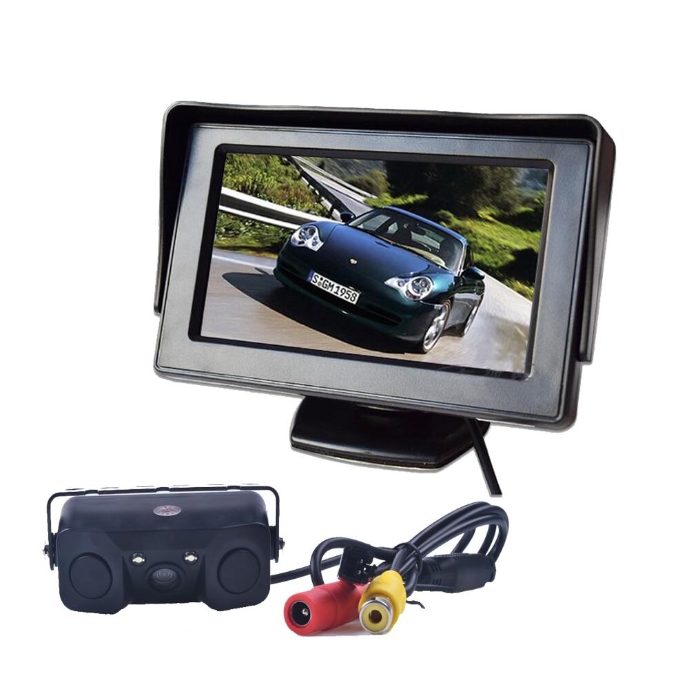 3in1 Radar de secours capteur d'assistance au stationnement vidéo avec caméra de recul + 4.3 pouces LCD moniteur de rétroviseur de voiture Parking vidéo
