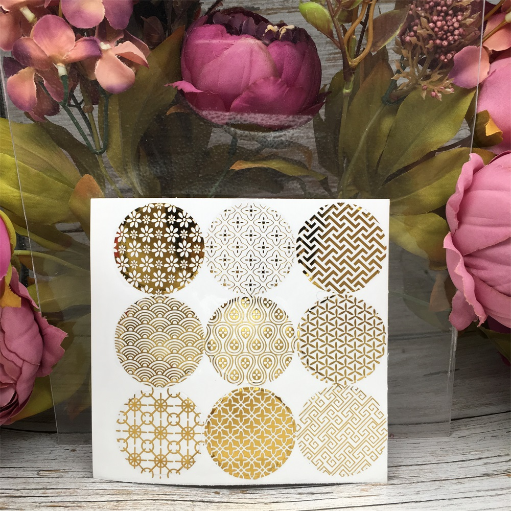 90Pcs Golden Geometry Circle Handmade Cake Packaging Sealing Label Kraft Sticker Baking DIY Work Gift Box Round Stickers