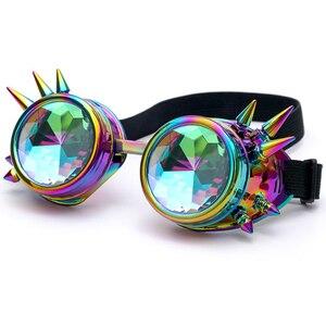 Image 2 - Kaleydoskop renkli gözlük Rave festivali parti EDM güneş gözlüğü Diffracted Lens Steampunk gözlük erkek kaynak gotik Cosplay