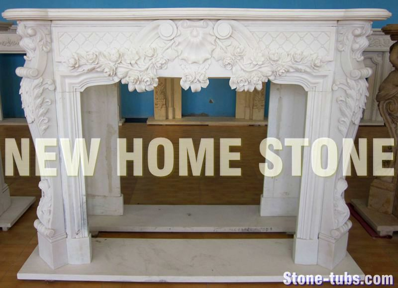 Fireplace Surround Mantels With Floral Swag On Front And Legs