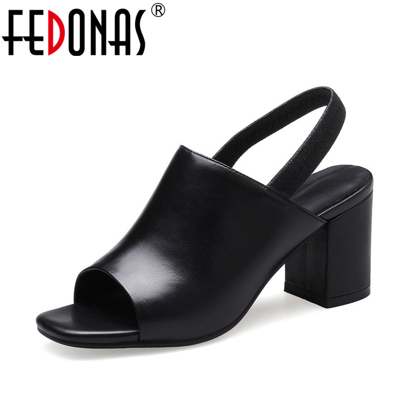 FEDONAS Genuine Leather Women Summer Sandals Thick High Heels Ladies Shoes Natural Leather Fashion Platform Sandals for Women 2018 summer new genuine leather women slippers sexy cut outs high heels shoes fashion slides natural leather sandals for women