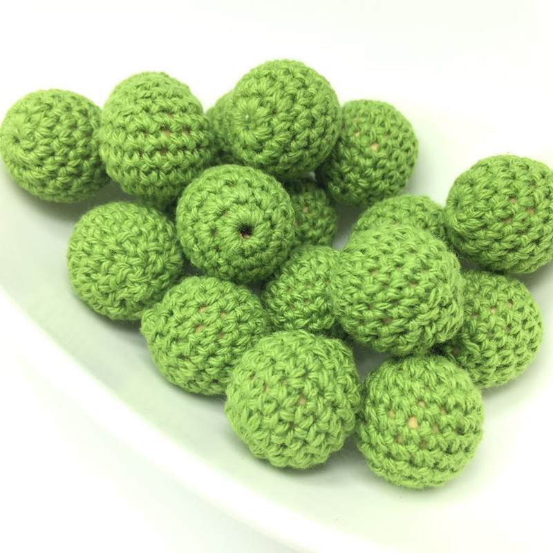 10PCS Army Green Handmade Crochet Beads Elegant Wooden Beads Ball Knitted By Cotton Thread For DIY Jewellery Making Eco-friendly