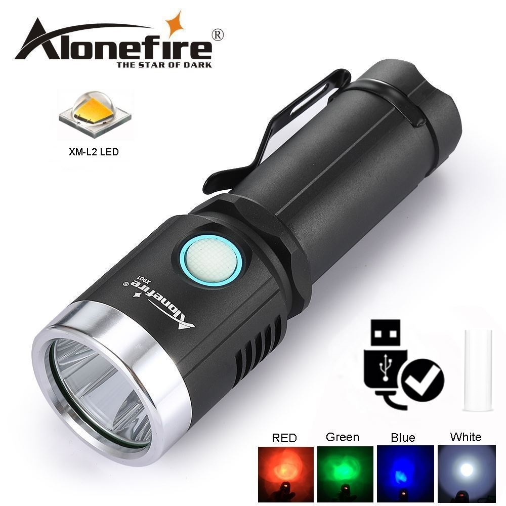цена AloneFire X901 XM L2 Micro usb rechargeable led flashlight 26650 18650 Ultra Bright Handheld Water Resistant Torch